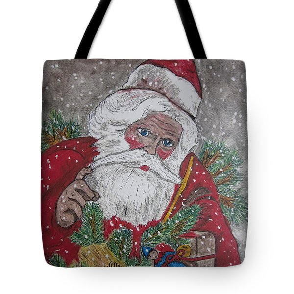 Old Fashioned Santa Tote Bag by Kathy Marrs Chandler