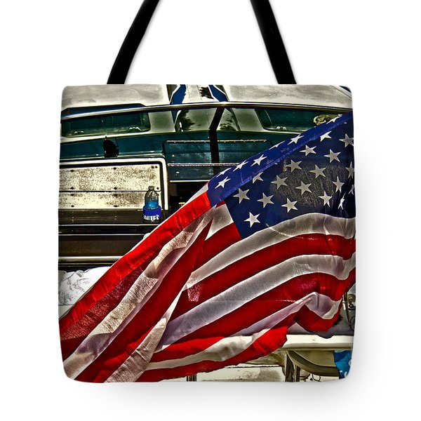 Old Glory And The Bay Tote Bag by Tom Gari Gallery-Three-Photography