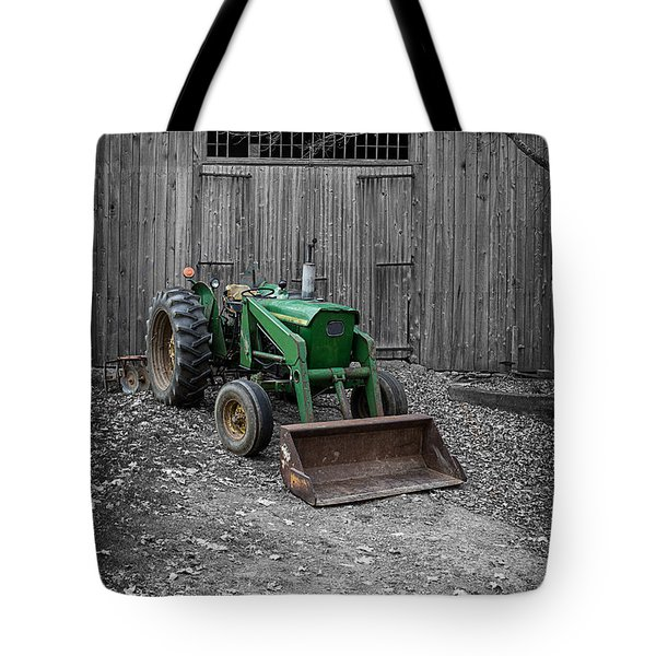 Old John Deere Tractor Tote Bag by Edward Fielding