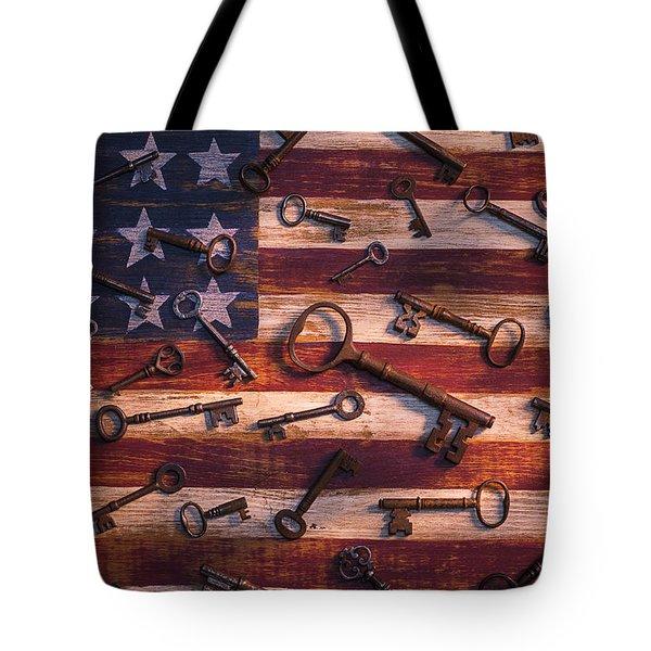 Old Keys On American Flag Tote Bag by Garry Gay