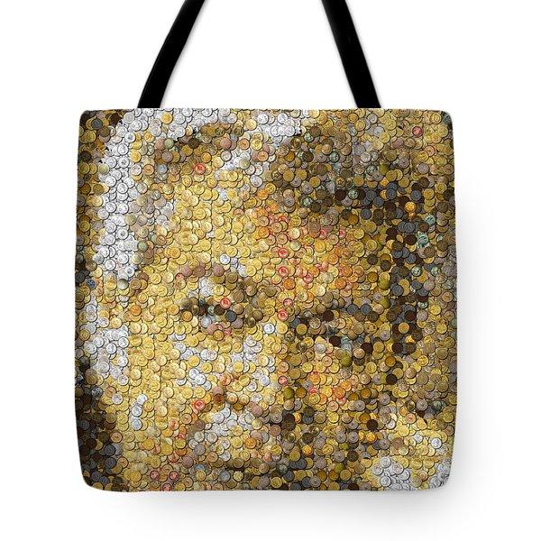Old Man Coin Mosaic Tote Bag by Paul Van Scott