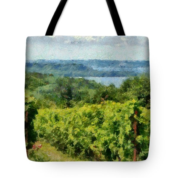 Old Mission Peninsula Vineyard Tote Bag by Michelle Calkins