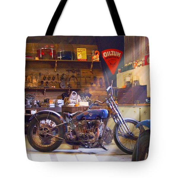 Old Motorcycle Shop 2 Tote Bag by Mike McGlothlen
