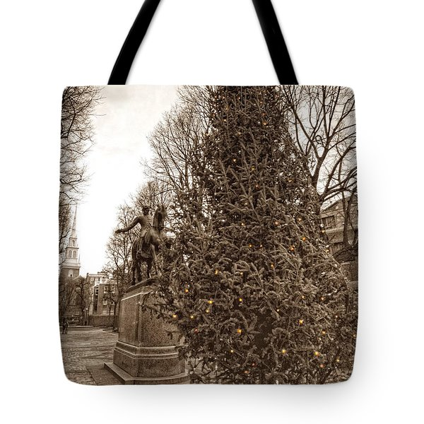 Old North Church and Paul Revere Tote Bag by Joann Vitali
