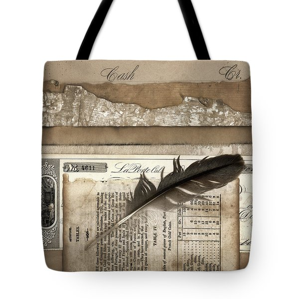 Old Papers and a Feather Tote Bag by Carol Leigh