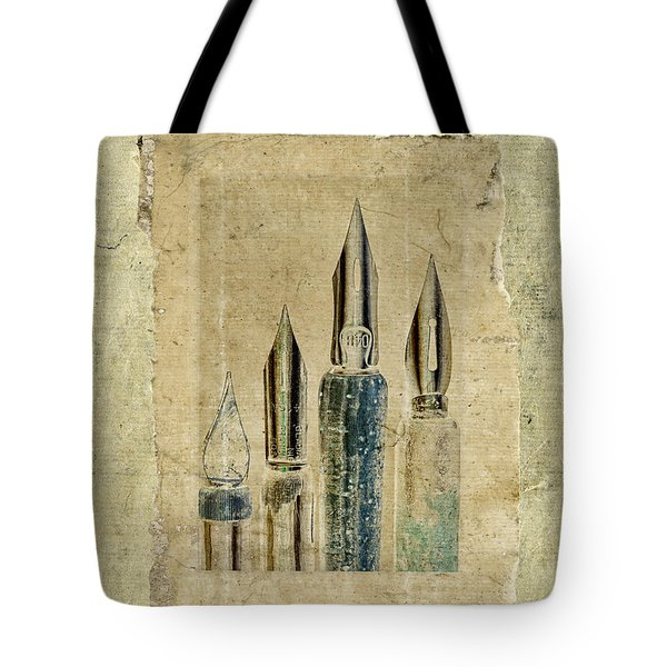 Old Pens Old Papers Tote Bag by Carol Leigh
