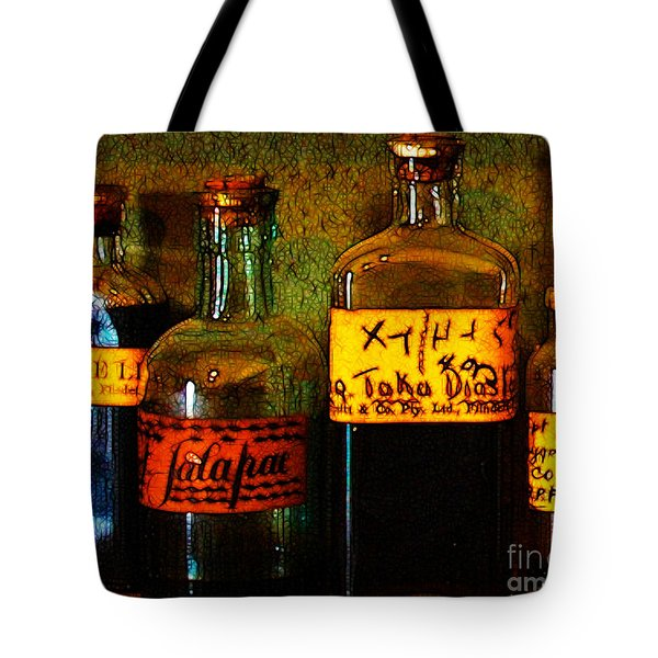 Old Pharmacy Bottles - 20130118 V1b Tote Bag by Wingsdomain Art and Photography