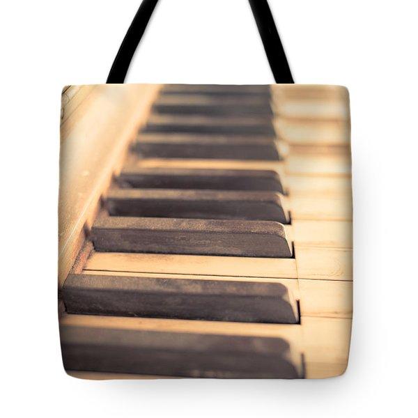 Old Piano Keys Tote Bag by Edward Fielding