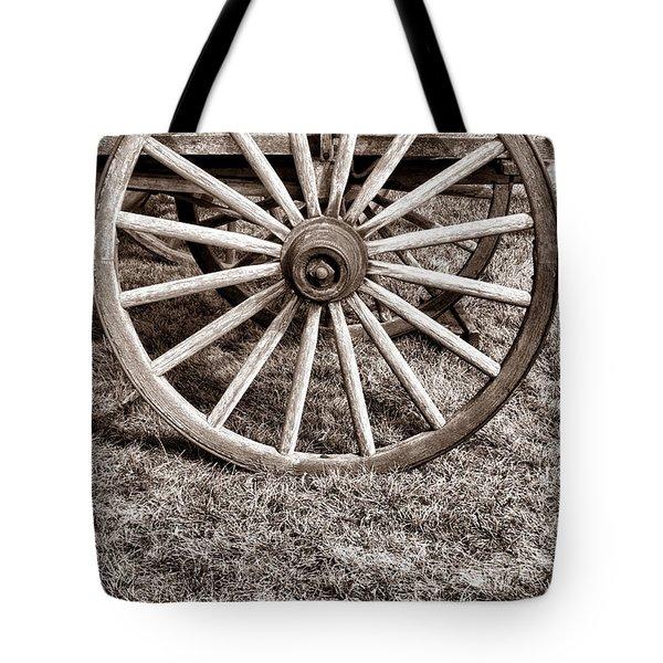 Old Prairie Schooner Wheel Tote Bag by American West Legend By Olivier Le Queinec