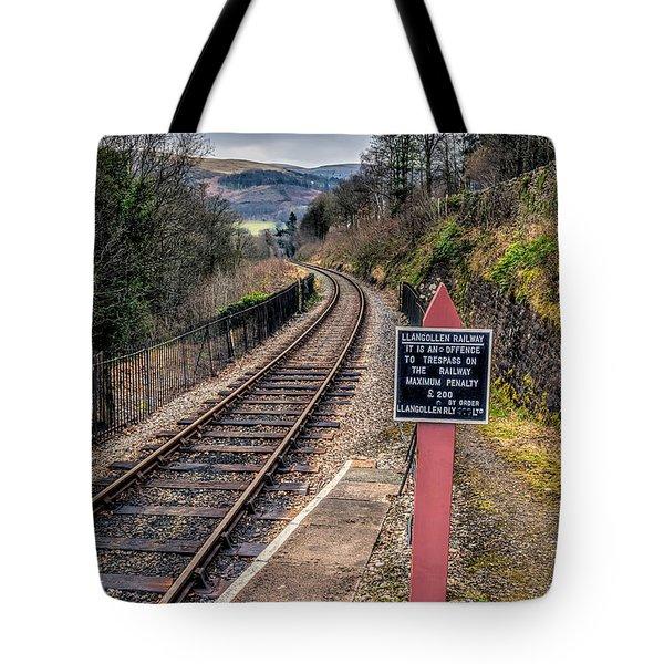 Old Railway Sign Tote Bag by Adrian Evans