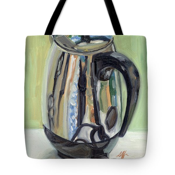 Old Reliable Stainless Steel Coffee Perker Tote Bag by Jennie Traill Schaeffer
