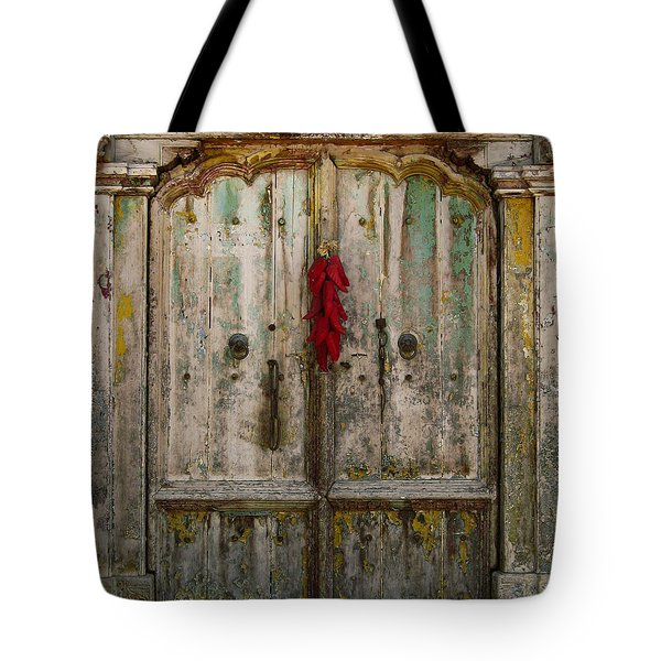 Old Ristra Door Tote Bag by Kurt Van Wagner
