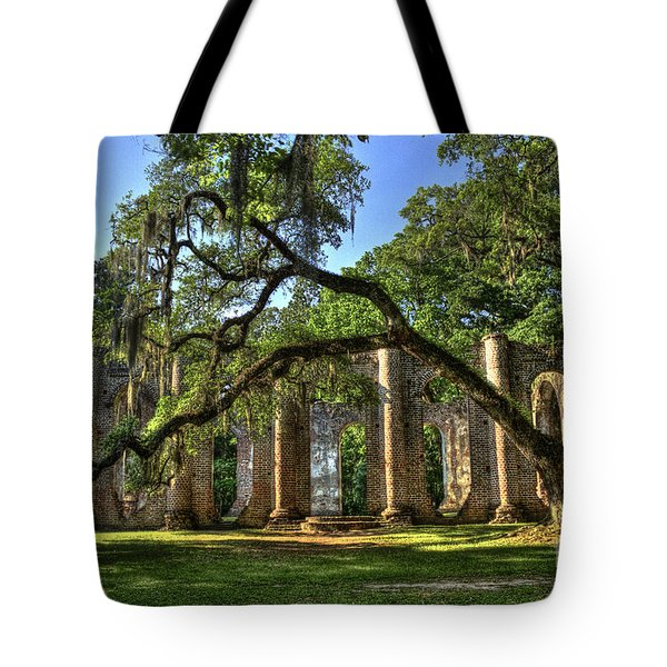 Old Sheldon Church Ruins 2 Tote Bag by Reid Callaway