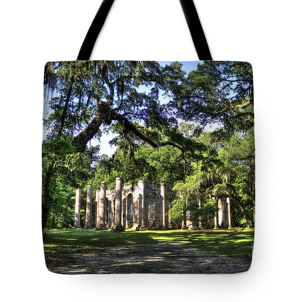 Old Sheldon Church Ruins near Beaufort SC Tote Bag by Reid Callaway