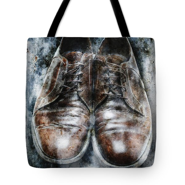 Old Shoes Frozen In Ice Tote Bag by Skip Nall