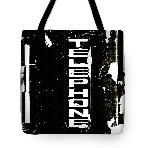 Old Telephone Sign Tote Bag by Anahi DeCanio