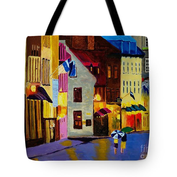 Tote Bag featuring the painting Old Towne Quebec by Rodney Campbell