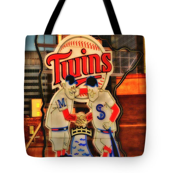 Old Twins Sign Tote Bag by Todd and candice Dailey