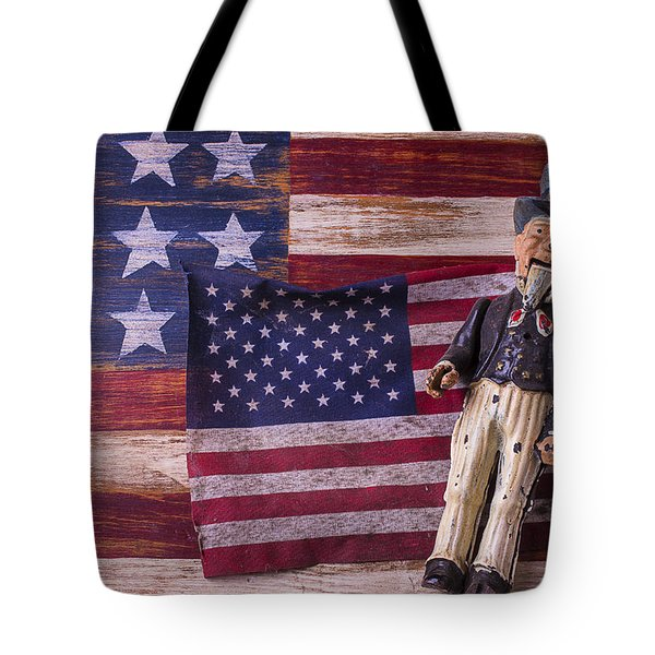 Old Uncle Sam and Flag Tote Bag by Garry Gay