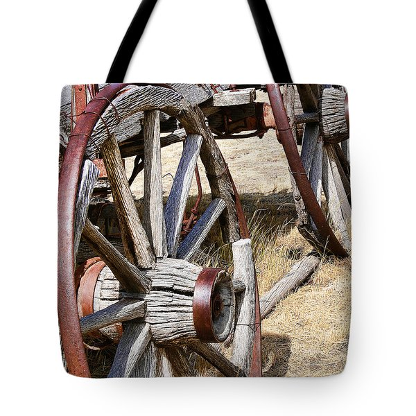 Old Wagon Wheels from Montana Tote Bag by Jennie Marie Schell