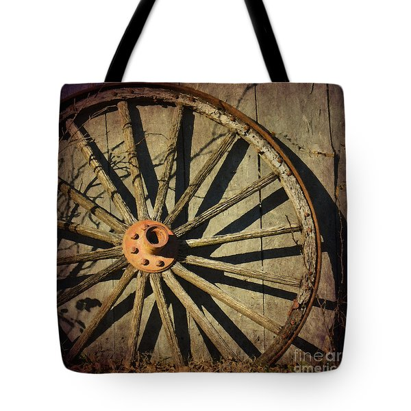 Old West Wagon Wheel Tote Bag by Betty LaRue