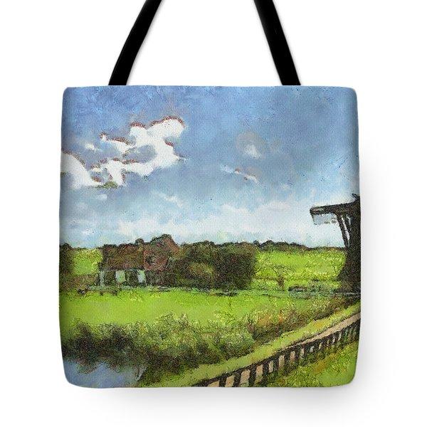 Old Windmill Tote Bag by Ayse Deniz