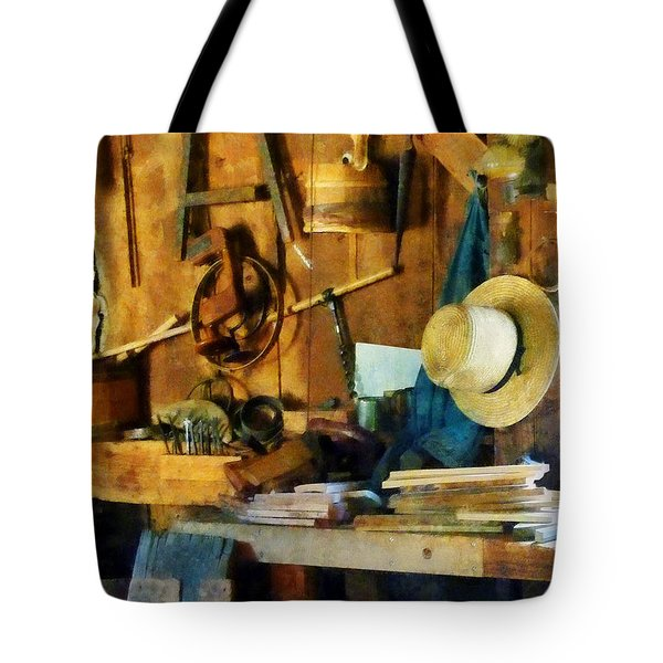 Old Wood Shop Tote Bag by Susan Savad