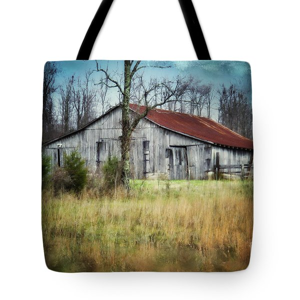 Old Wooden Barn Tote Bag by Betty LaRue