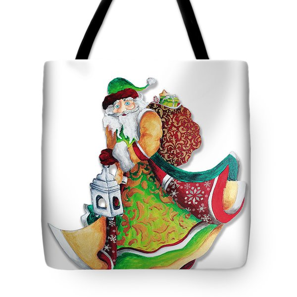 Old World Santa Christmas Art Original Painting by Megan Duncanson Tote Bag by Megan Duncanson