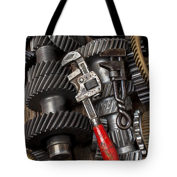 Old Wrenches On Gears Tote Bag by Garry Gay