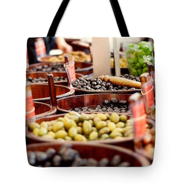 Olives In Barrels Tote Bag by Ivy Ho