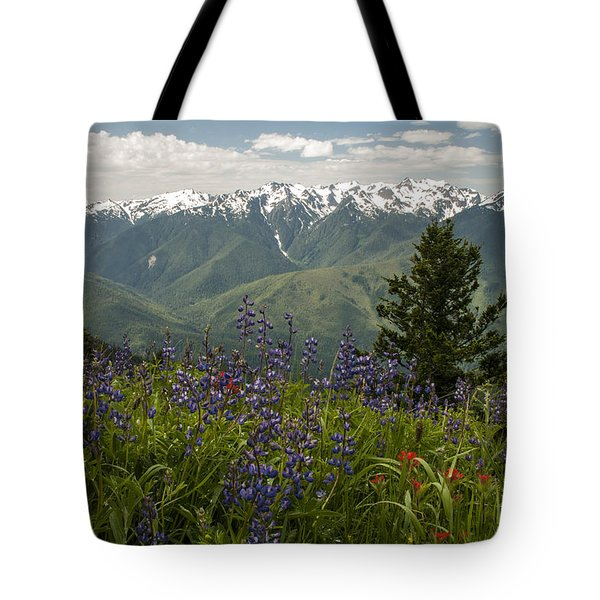 Olympic Mountain Wildflowers Tote Bag by Brian Harig