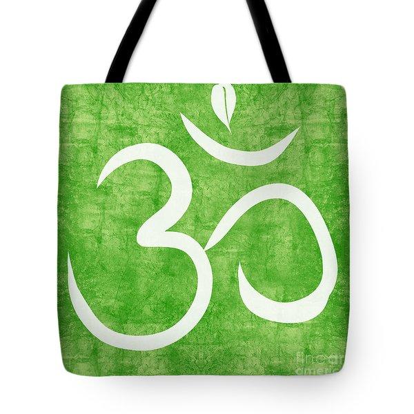 Om Green Tote Bag by Linda Woods