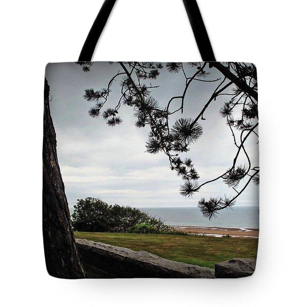 Omaha Beach Under Trees Tote Bag by Joan  Minchak