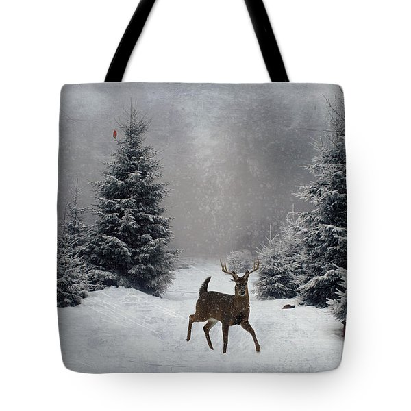 On a snowy evening Tote Bag by Lianne Schneider