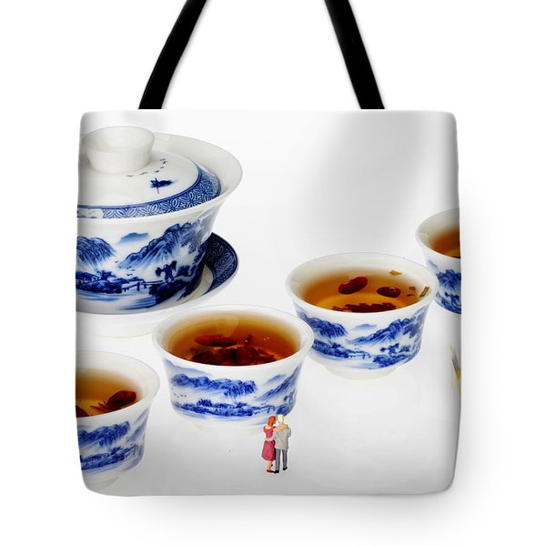 On Porcelain Ink Painting Exhibition Little People On Food Tote Bag by Paul Ge