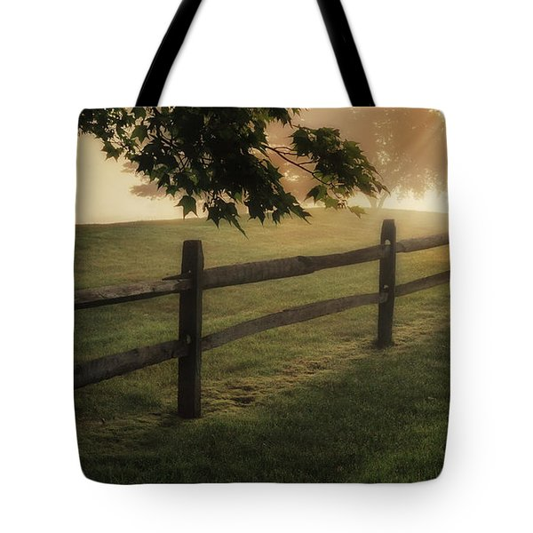 On the fence Tote Bag by Bill  Wakeley