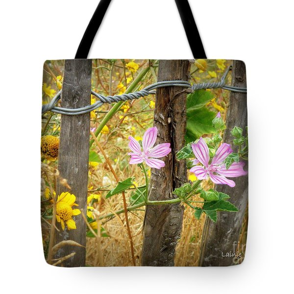 On the Fence Tote Bag by Lainie Wrightson