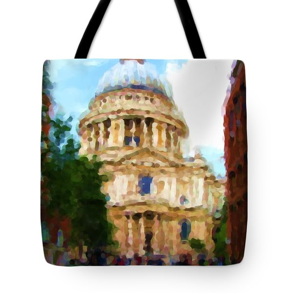 On The Steps Of Saint Pauls Tote Bag by Jenny Armitage