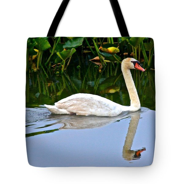 On the Swanny River Tote Bag by Frozen in Time Fine Art Photography