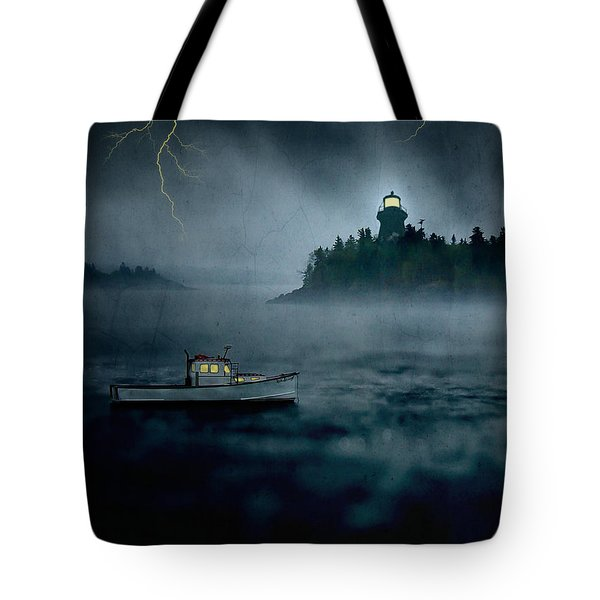 One Stormy Night in Maine Tote Bag by Edward Fielding
