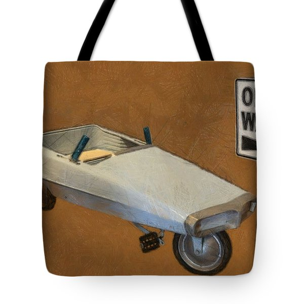 One Way Pedal Car Tote Bag by Michelle Calkins