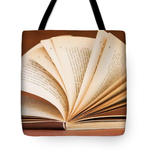 Open Book In Retro Style Tote Bag by Michal Bednarek