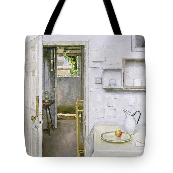 Open Doors With Still Life And Letter Tote Bag by Charles E Hardaker