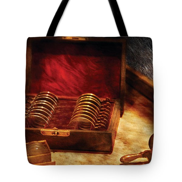 Optician - A Box Of Occulars  Tote Bag by Mike Savad