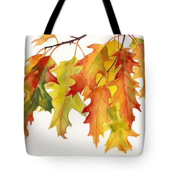 Orange and Yellow Oak Leaves Tote Bag by Sharon Freeman