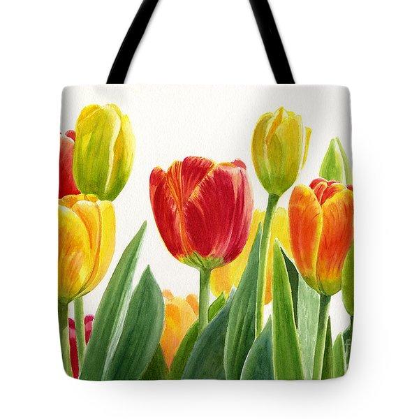 Orange And Yellow Tulips Horizontal Design Tote Bag by Sharon Freeman