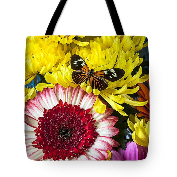 Orange Black Butterfly With Red Mum Tote Bag by Garry Gay