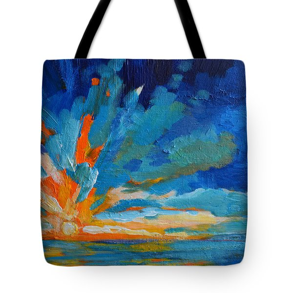 Orange Blue Sunset Landscape Tote Bag by Patricia Awapara