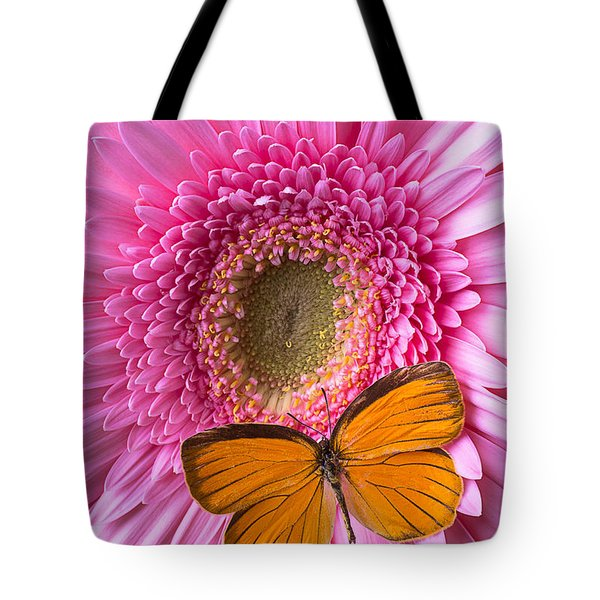 Orange Butterfly On Pink Daisy Tote Bag by Garry Gay